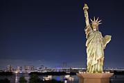 Art Product Prints - Statue Of Liberty With Tokyo Bay Print by Bryan Mullennix