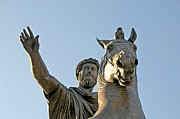 Depictions Posters - Statue of Marcus Aurelius on Capitoline Hill Rome Lazio Italy Poster by Bernard Jaubert