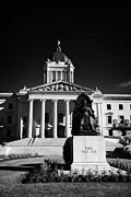Manitoba Posters - Statue Of Queen Victoria Outside The Manitoba Legislative Building Winnipeg Manitoba Canada Poster by Joe Fox