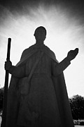 Lough Prints - statue of saint patrick at Lough Derg pilgrimage site county donegal ireland Print by Joe Fox