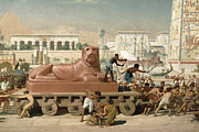 Lioness Painting Prints - Statue of Sekhmet being transported  detail of Israel in Egypt Print by Sir Edward John Poynter