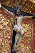 Statue Of The Crucifixion Inside The Catedral De Cordoba Print by Sami Sarkis