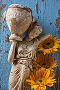 Statue Framed Prints - Statue of woman with sunflowers Framed Print by Garry Gay