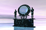 Portal Framed Prints - Statues Stand Near A Dimensional Portal Framed Print by Corey Ford