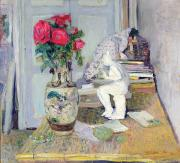 Interior Still Life Painting Metal Prints - Statuette by Maillol and Red Roses Metal Print by Edouard Vuillard