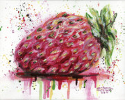 Drips Painting Metal Prints - Stawberry 2 Metal Print by Arleana Holtzmann