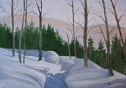 Snowy Trees Paintings - Stay On The Path by Lynn Quinn