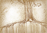 Tree Roots Digital Art Posters - Stay Rooted in Sepia Poster by Crystal  June