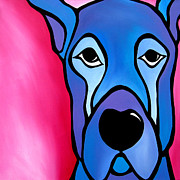 Modern Dog Art Paintings - Stay by Tom Fedro - Fidostudio