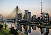 Stayed Bridge And Modern Sao Paulo Skyline Print by Carlos Alkmin