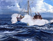 Tall Ships. Marine Art Paintings - Staying Ahead of the Weather by Phil Cusumano