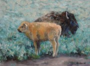 Buffalo Paintings - Staying Close by Debra Mickelson