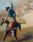 Bull Riding Paintings - Staying in the Middle Rodeo Bucking Bull by Kim Corpany