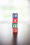 No Love Posters - Stcked Alphabet Blocks Spelling The Word love Poster by Steven Errico
