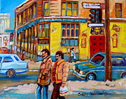 Winter Scenes Paintings - Ste. Catherine Street Montreal by Carole Spandau