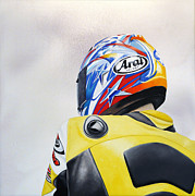 Motorcycle Racing Art Painting Framed Prints - Steadfast Framed Print by Ian Hemingway