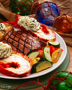 Steak And Lobster Print by Vance Fox
