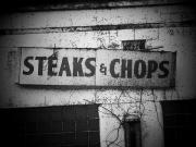 Old Signs Posters - Steaks and Chops Poster by Michael L Kimble