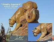 Mountain Lion Sculptures - Stealthy Approach by Julio Sanchez de Alba