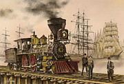 Railroad Paintings - Steam and Sail by James Williamson