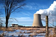 Nuclear Energy Photo Posters - Steam Billows From The Cooling Tower Poster by Everett