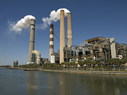 Power Plants Prints - Steam Exits A Power Plant In Tampa Print by Stacy Gold