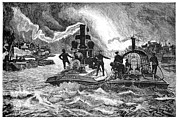 Fireboat Framed Prints - Steam Fireboats, 19th Century Framed Print by