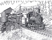Covered Bridge Drawings Posters - Steam Passenger Service Poster by Bill Friday