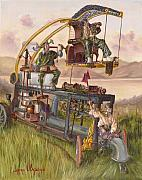 Steam Punk Painting Posters - Steam Powered Rodent Remover Poster by Jeff Brimley
