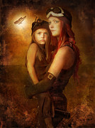 Steam Dreams Prints - Steam Punk - Mother and Child Print by Eugene James