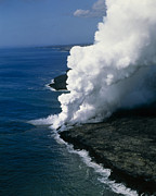 Flowing Lava Posters - Steam Rising As Molten Lava Meets The Ocean Poster by G. Brad Lewis