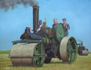 Driving Painting Framed Prints - Steam Roller Traction Engine Framed Print by Martin Davey