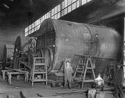 Large Scale Photo Prints - Steam Ship Boilers Under Construction Print by Everett