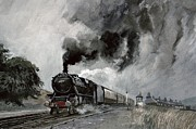 Old-fashioned Paintings - Steam Train at Garsdale - Cumbria by John Cooke