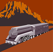 Steam Train Prints - Steam Train Locomotive Retro Print by Aloysius Patrimonio
