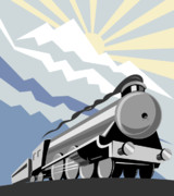 Railway Digital Art Framed Prints - Steam train mountain Framed Print by Aloysius Patrimonio