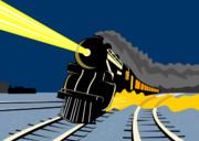 Steam Train Night Print by Aloysius Patrimonio
