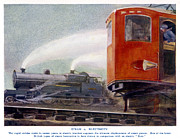 Electric Train Prints - Steam Trains Versus Electric Print by Mary Evans and Photo Researchers