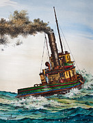 Artist James Williamson Fine Art Prints Prints - Steam Tug Alice Print by James Williamson