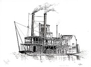 Award Drawings Prints - Steamboat Bill   The Arabia Print by John Simlett