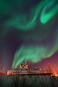 Winter Night Posters - Steamboat Under Northern Lights Poster by Priska Wettstein