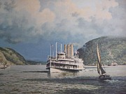 Vintage River Scenes Prints - Steamboats on Newburgh Bay William G Muller Print by Jake Hartz