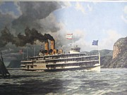 Vintage River Scenes Posters - Steamer Alexander Hamilton William G Muller Poster by Jake Hartz