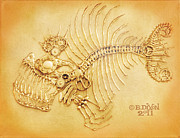 Monster Reliefs Prints - Steamfish 4 Print by Baron Dixon