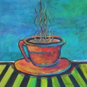 Images Paintings - Steamin Hot Coffee by Deb Magelssen