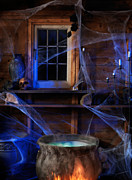 Haunted House Photos - Steaming Cauldron in a Witch Cabin by Oleksiy Maksymenko
