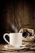 Rustic Metal Prints - Steaming Coffee Metal Print by Christopher Elwell and Amanda Haselock