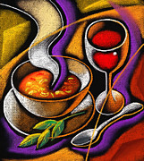 Dinner Painting Metal Prints - Steaming Supper Metal Print by Leon Zernitsky