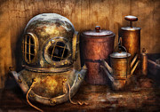 Diving Helmet Photo Posters - Steampunk - A collection from my Journeys Poster by Mike Savad
