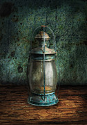 Oil Lamp Metal Prints - Steampunk - An old lantern Metal Print by Mike Savad